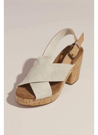 TOMS Beige (TOMS Crisscross Strap Cork Block Heel Sandals)
