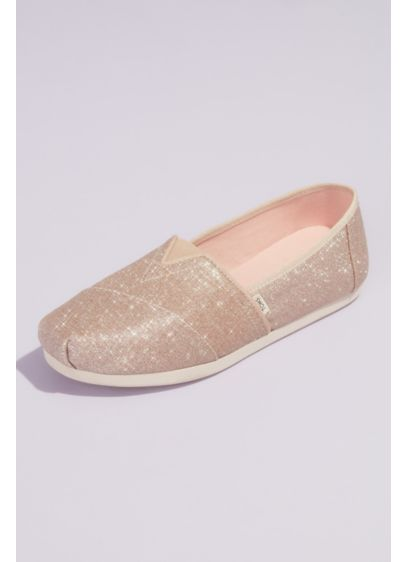 TOMS Ivory (TOMS Glitter Canvas Wrap Classic Slip-On Shoes)
