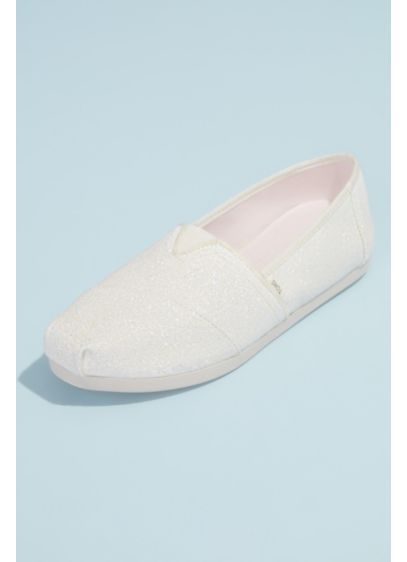 TOMS Ivory (TOMS Canvas Glitter Wrap Classic Slip-On Shoes)