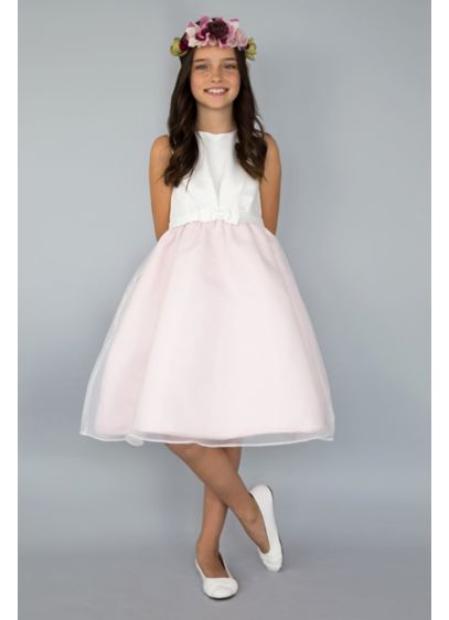 Belted Flower Girl Dress with Organza Skirt Layer - She'll captivate the crowd in this elegant look