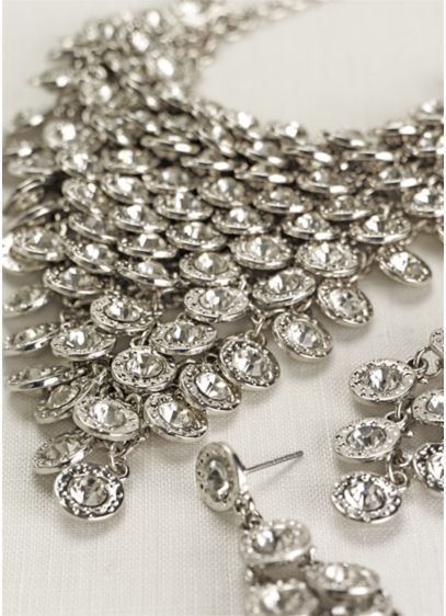 Crystal Pyramid Necklace and Earring Set - Wedding Accessories