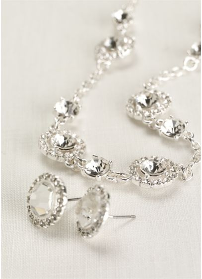 Pave Crystal Necklace and Stud Earring Set - Wedding Accessories