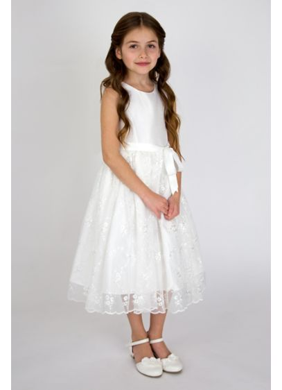 Embroidered Flower Girl Dress with Scallop Trim - Dainty and darling, this flower girl dress has