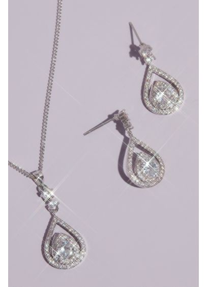 Pave Crystal Teardrop Earrings and Necklace Set - This dazzling necklace and drop earrings set is