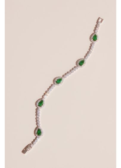 Pear-Cut Gemstone Pave Halo Crystal Bracelet - Deep emerald stones are set against a glimmering