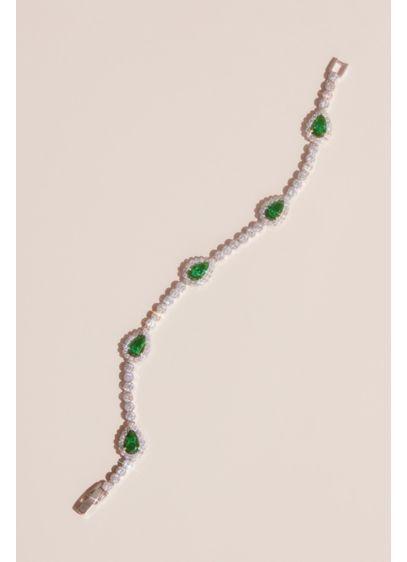 Green (Pear-Cut Gemstone Pave Halo Crystal Bracelet)