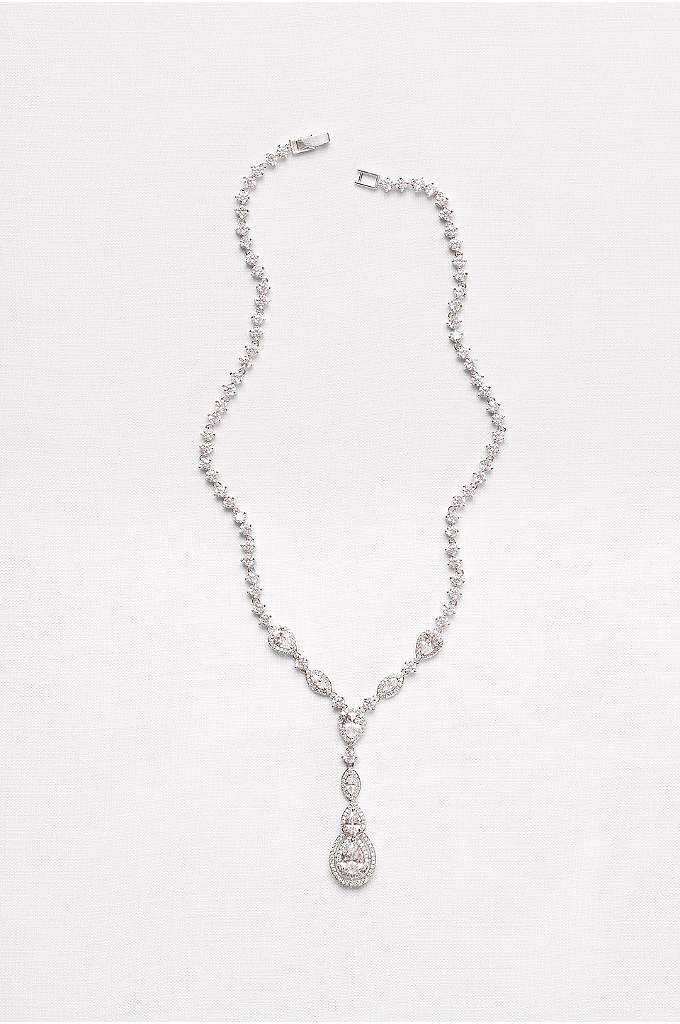 Cubic Zirconia Teardrop Y-Necklace - Pave-encircled cubic zirconia teardrops sway from the glittering