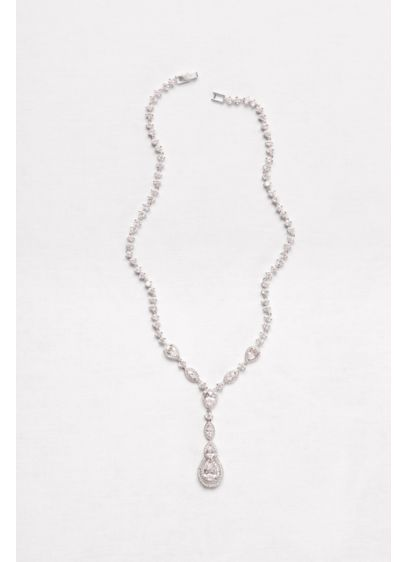 Cubic Zirconia Teardrop Y-Necklace - Wedding Accessories