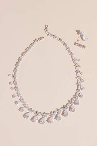 Set Aretes Con Collar Cristales Colgantes