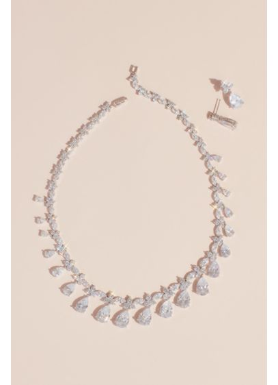 David's Bridal Grey (Dangling Pear Crystal Necklace and Earrings Set)
