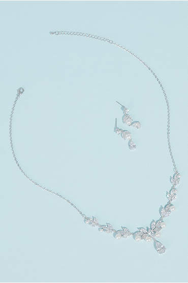 Pearl Cubic Zirconia Leaf Necklace and Earring Set
