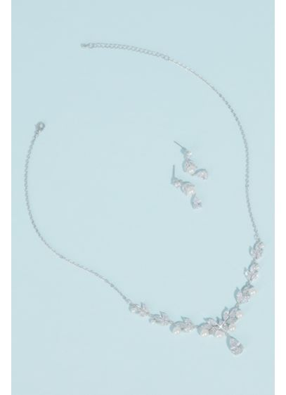 Pearl Cubic Zirconia Leaf Necklace and Earring Set - A single tear teardrop-cut crystal dangles from a