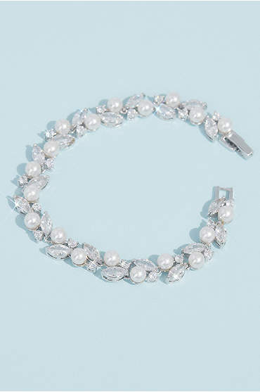 Pearl and Cubic Zirconia Crystal Leaves Bracelet