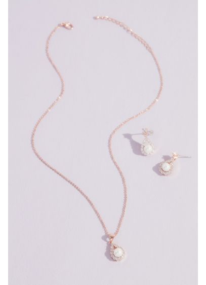 Haloed Faux Pearl Necklace and Earring Set - Halos of shimmering crystals add extra sparkle and
