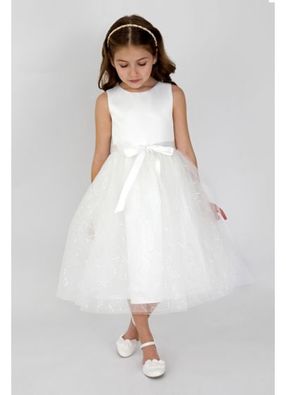 45a10296f9d Satin and Sequined Tulle Flower Girl Dress. 1008UA. Short A-Line Tank Dress  - US Angels