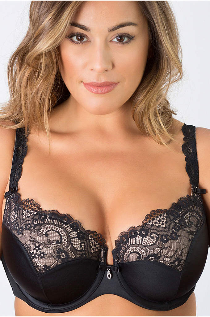 Curvy Couture Tulip Lace Push-Up Demi Bra - With graduated push-up pads, this classic balconette bra