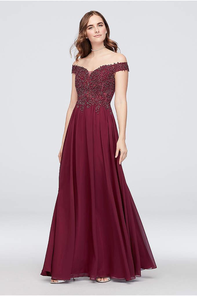 Chiffon Sheath Dress with Sheer Corded Lace Bodice - This chiffon sheath dress is full of lovely