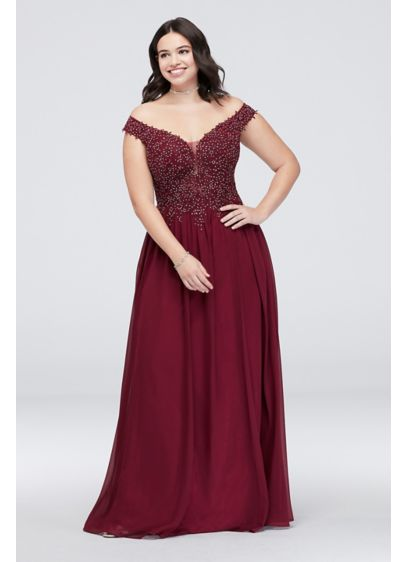 Chiffon Plus Size Dress with Corded Lace Bodice - This chiffon sheath plus-size dress is full of