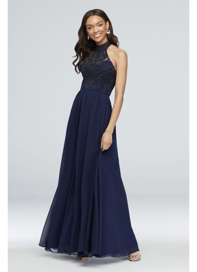 Embroidered Illusion Halter Gown with Open Back - This high-neck chiffon gown has a few extra-special