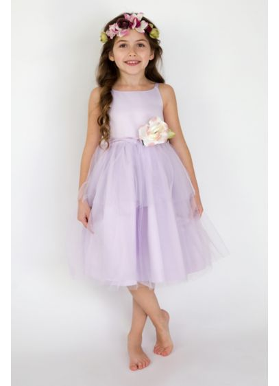 Spaghetti strap tulle flower girl dress davids bridal short ballgown spaghetti strap dress us angels mightylinksfo