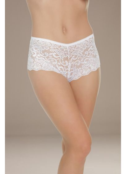 Coquette Low-Rise Lace Booty Short - This pair of scalloped lace booty shorts features