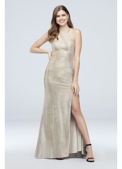 High-Neck Metallic Sheath Dress with Strappy Back - Take center stage in this show-stopping metallic sheath