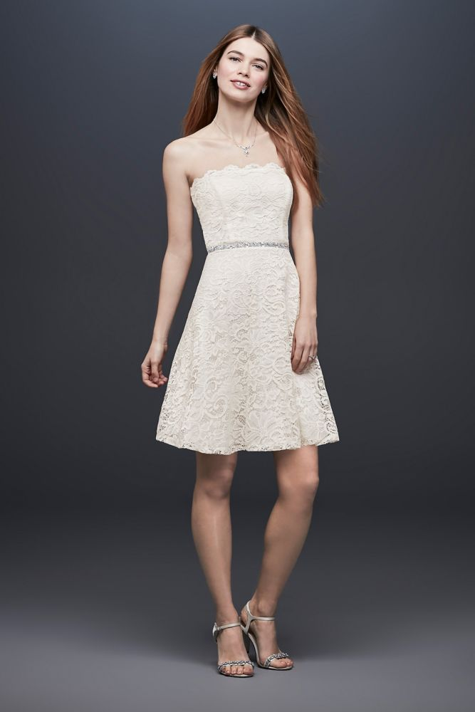 Strapless Short Lace Fit-and-Flare Dress Style 10394
