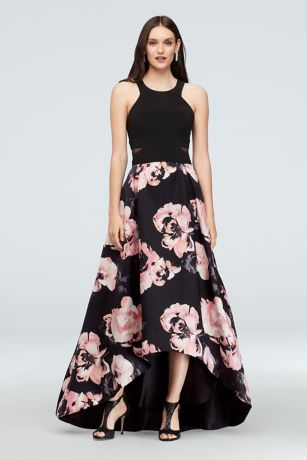 259c2ad41be71 High Low Ballgown Halter Dress - Xscape · Xscape. Jersey and Floral Satin  High-Low Ball Gown