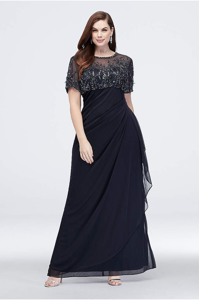 Beaded Illusion Short Sleeve Plus Size Sheath Gown | David\'s Bridal