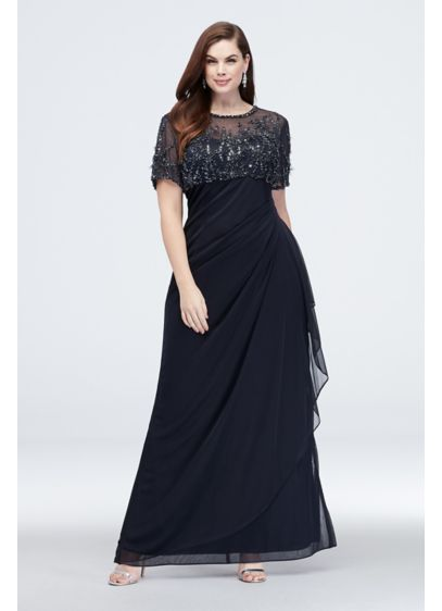 6f4d91730d3 Beaded Illusion Short Sleeve Plus Size Sheath Gown. 1050XW. Long Sheath  Short Sleeves Cocktail and Party Dress - Xscape