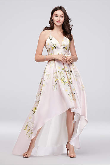 Floral Mikado Crossback High-Low Ball Gown