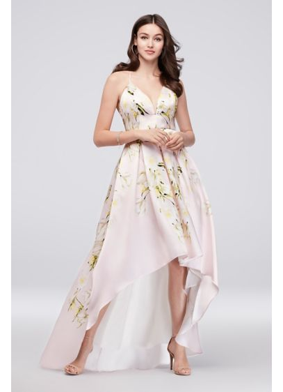 Floral Mikado Crossback High Low Ball Gown Davids Bridal