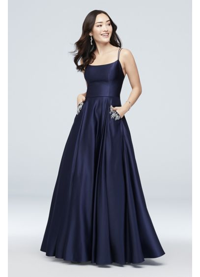 Jewel-Pocket Strappy Satin Ball Gown - Crystal-trimmed pockets give this pleated satin ball gown
