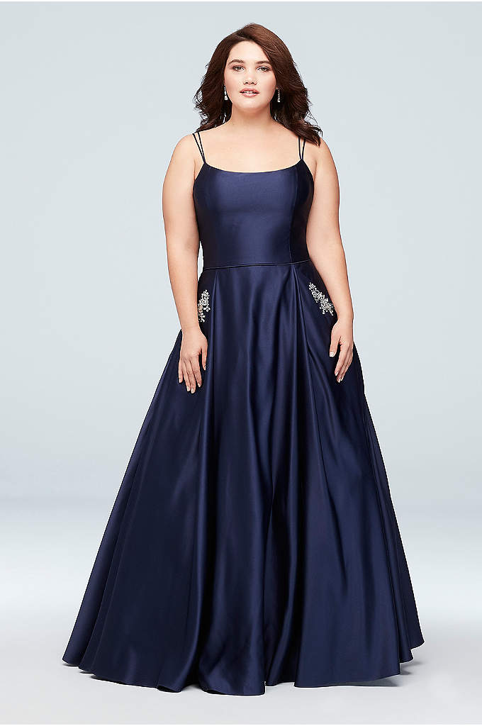 Jewel-Pocket Strappy Satin Plus Size Ball Gown - Crystal-trimmed pockets give this pleated satin plus-size ball