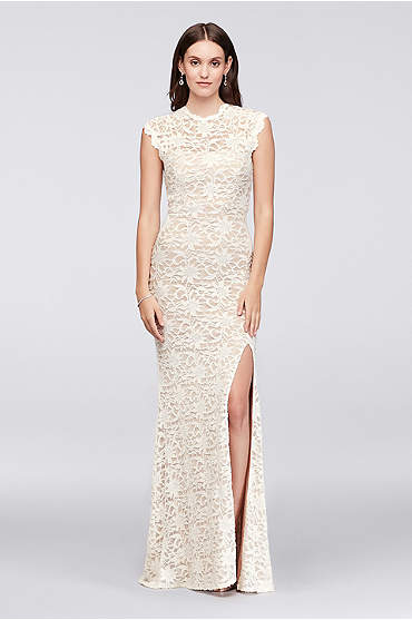 High-Neck Allover Lace Sheath Gown with Open Back