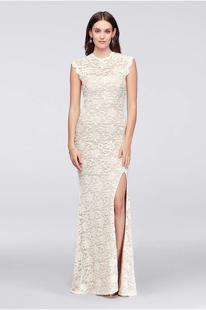 High-Neck Allover Lace Sheath Gown with Open Back - Scalloped trim adds softness to the sleek lines