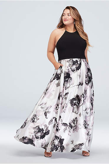 High-Neck Floral Ball Gown with Pockets