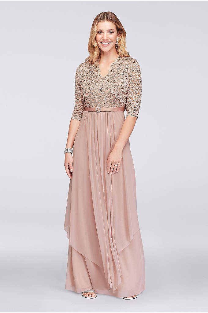 Sequin Lace and Chiffon Dress with Bolero Jacket - A sequined lace bodice and a wispy, midi-length