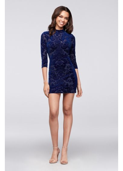 Short Sheath Long Sleeves Cocktail and Party Dress - Haute Nites