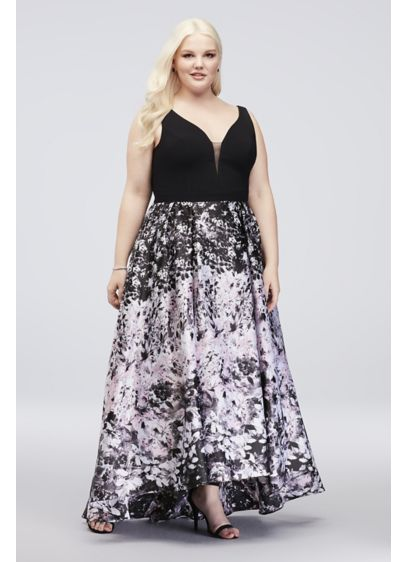 V-Neck Plus Size Ball Gown with Floral Print Skirt | David\'s ...