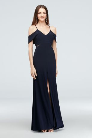 Cold Shoulder Jersey Gown with Illusion Sides