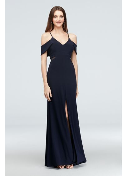 Cold Shoulder Jersey Gown with Illusion Sides - A sleek matte jersey sheath gown, featuring angled