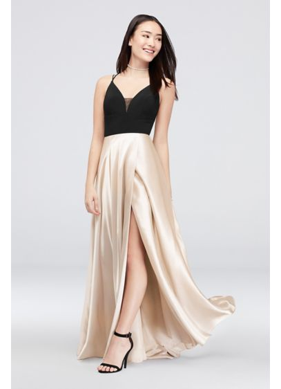 Charmeuse Gown with Crossed Spaghetti Straps - Stylish and sleek, a silky skirt meets a