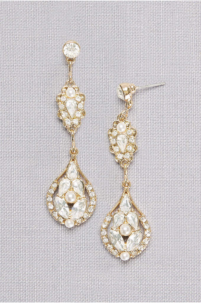 Crystal and Pearl Double Medallion Earrings - Give your dress a bit of bygone glamour