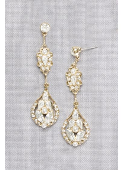 Crystal and Pearl Double Medallion Earrings - Wedding Accessories