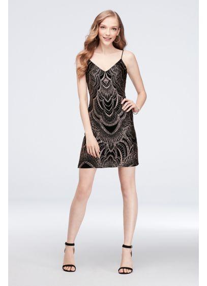 Short Slinky Slip Dress With Glitter Print