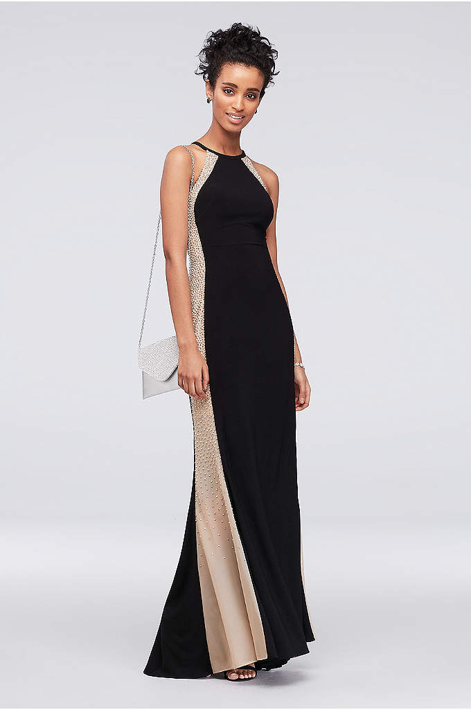 High-Neck Halter Sheath Dress with Illusion Panels