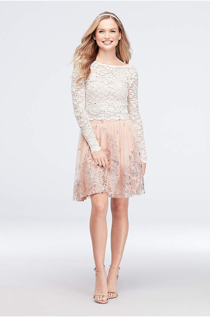 Lace and Floral Glitter Two-Piece Dress - A long-sleeve lace top and a glittery floral-print