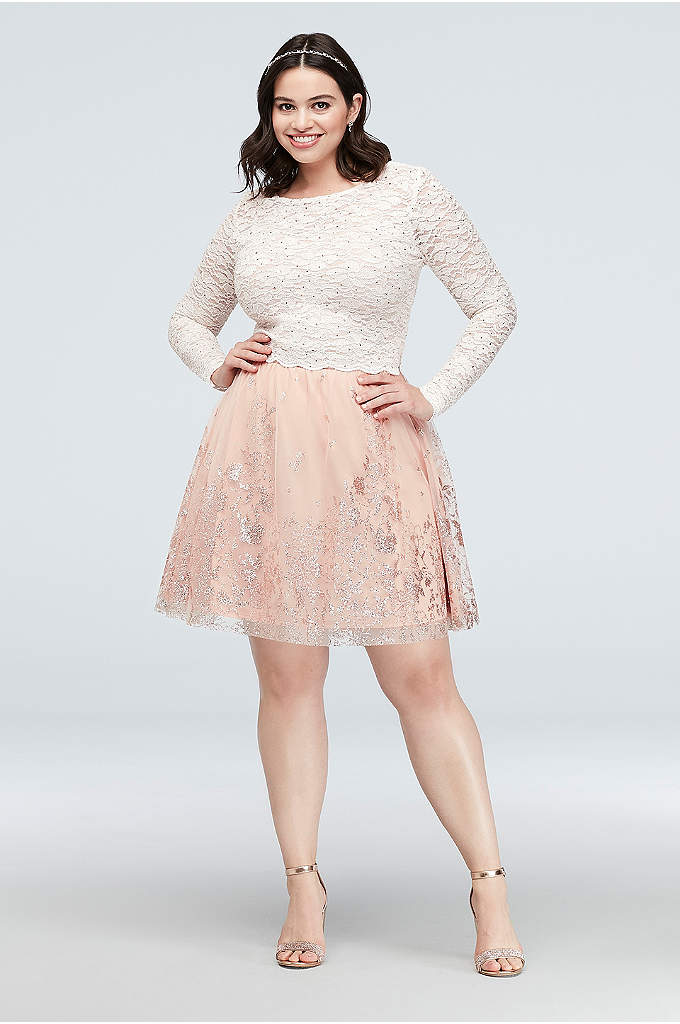 Lace and Floral Glitter Two-Piece Plus Size Dress - A long-sleeve lace top and a glittery floral-print