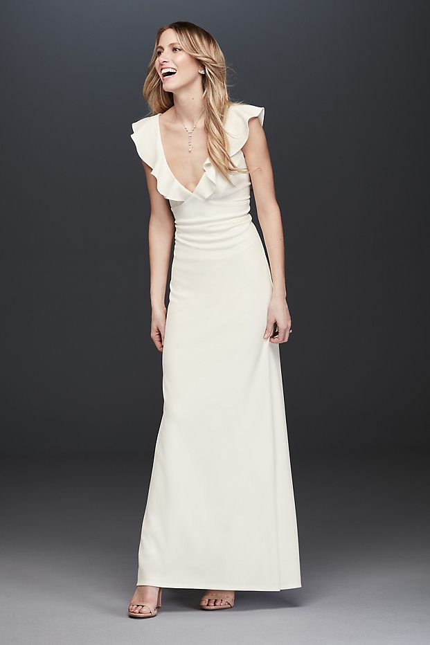 Plunging V-Neck Ruffle Strap Low Back Crepe Gown